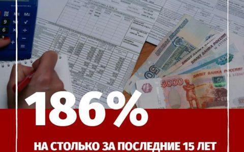 За последние 15 лет тарифы  ЖКХ увеличились на 186%